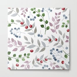 Watercolors leafs and red berries seamless pattern Metal Print
