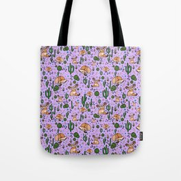Cute Cactus and Fennec Fox Tote Bag