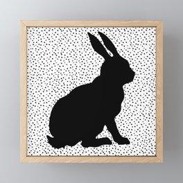 Black Silhouette Sitting Bunny Rabbit Polka Dots on White Framed Mini Art Print