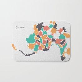 Cincinnati Ohio Map with neighborhoods and modern round shapes Bath Mat