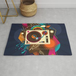 Goodtime Party Music Retro Rainbow Turntable Graphic Rug