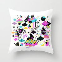 gravity Throw Pillows featuring Gravity by Muxxi