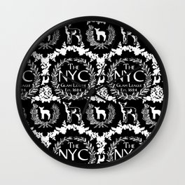NYC Glam League Crest No. 5 in Black + White Wall Clock