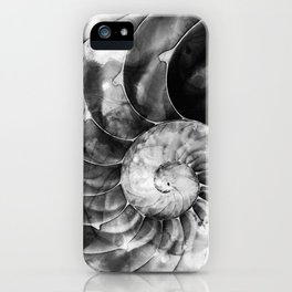 Black And White Nautilus Shell By Sharon Cummings iPhone Case