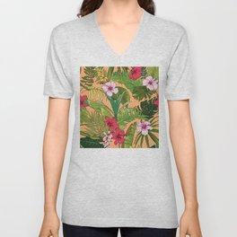Tropical Island Floral Pattern On Pastel Cantaloupe Orange Unisex V-Neck