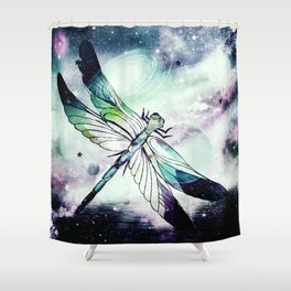 space dragonfly Shower Curtain