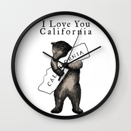i love you california Wall Clock