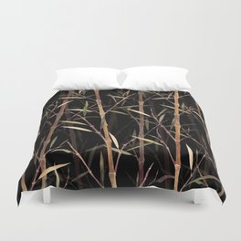 Dry Bamboo Forest at Night Duvet Cover