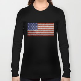 Flag of the United States of America in Retro Grunge Long Sleeve T-shirt