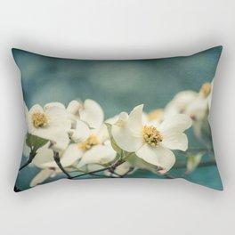 Spring Botanical -- White Dogwood Branch in Flower Rectangular Pillow