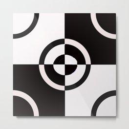 black & white check Metal Print