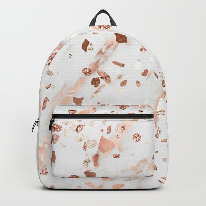 Pink Quartz Terrazzo + Rose Gold Marble Backpack