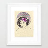 jenny liz rome Framed Art Prints featuring Liz by Rosaria Degennaro Illustrations