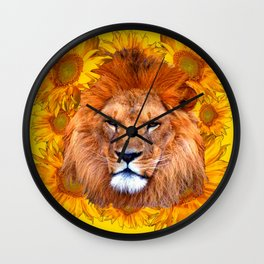 YELLOW TAWNY AFRICAN LION & GOLDEN SUNFLOWERS Wall Clock