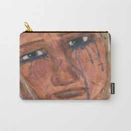Abstract Portrait Face of a Sad Woman outsider visionary artist Carry-All Pouch
