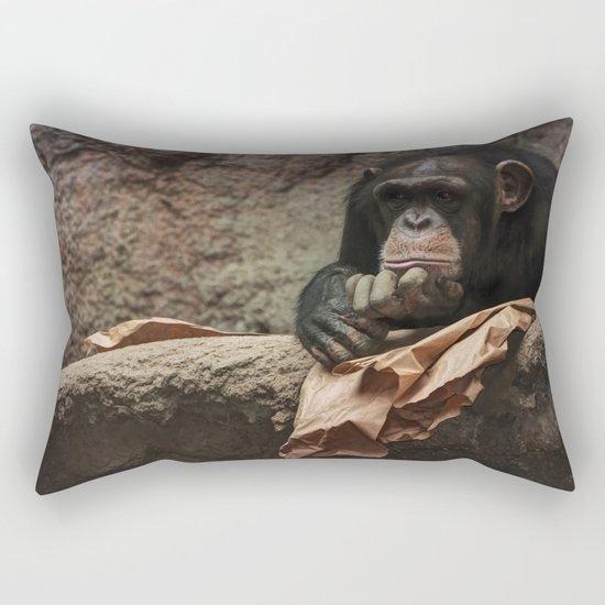 bored chimpanzee monkey animal zoo Rectangular Pillow