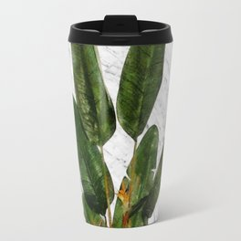 Bird of Paradise Plant on White Marble Travel Mug