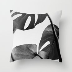 Black & white Monstera Throw Pillow