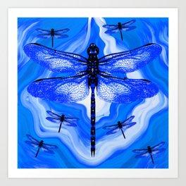 DRAGONFLY BLUE AGATE Art Print