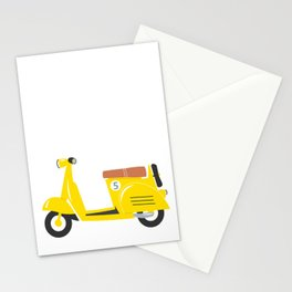 Retro yellow scooter Stationery Cards