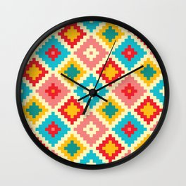 Candy Colored Tile Pattern Wall Clock