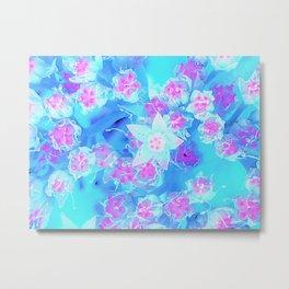 Blue and Hot Pink Succulent Underwater Sedum Flowers Metal Print