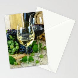 Glasses of Wine plus Grapes and Barrel Stationery Cards