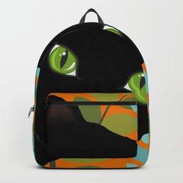Black Kitty Cat In The Garden Backpack