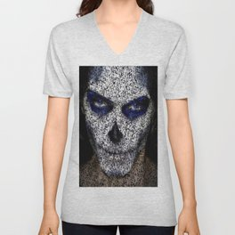 Skull In Black And White Unisex V-Neck