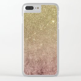 Gold Glitter and Pink Rose Gold Foil Mesh Clear iPhone Case