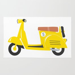 Retro yellow scooter Rug