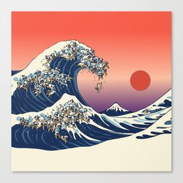 The Great Wave of Pugs / Square Canvas Print