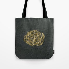 Golden Rose on Textured Canvas Tote Bag