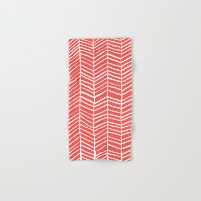 Coral Herringbone Hand & Bath Towel