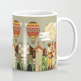 Hot air balloon ride trough the city Coffee Mug