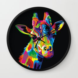 COLOURFUL GIRAFFE Wall Clock