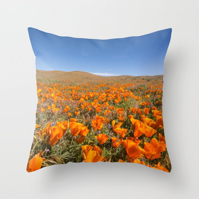 Blooming poppies in Antelope Valley Poppy Reserve Throw Pillow