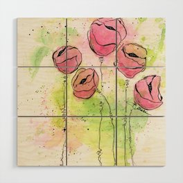 Pink and Green Splotch Flowers Wood Wall Art