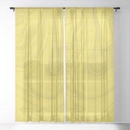 Yellow Wavy Swirls Marble Fluid Art Design 2021 Color Of The Year Illuminating 13-0647  Sheer Curtain