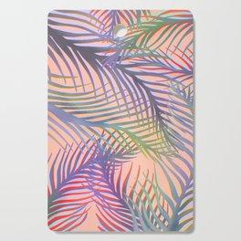 Palm Leaves Pattern - Purple, Peach, Blue Cutting Board