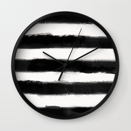 Long Strokes Horizontal Black on Off White Wall Clock
