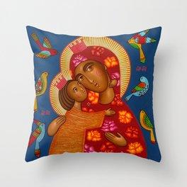 modern folk icon - Madonna with birds 2 Throw Pillow