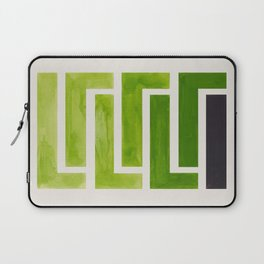 Olive Green Inca Braid Minimalist Geometric Pattern Mid Century Modern Watercolor Painting Laptop Sleeve