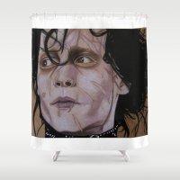 edward scissorhands Shower Curtains featuring Edward Scissorhands by Putrizia Pine