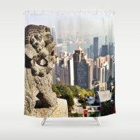 hong kong Shower Curtains featuring Hong Kong by amberino