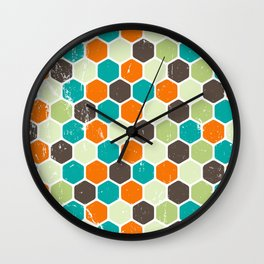 Retro Geometric Hexagons / Vintage Scratched Distressed Pattern Wall Clock
