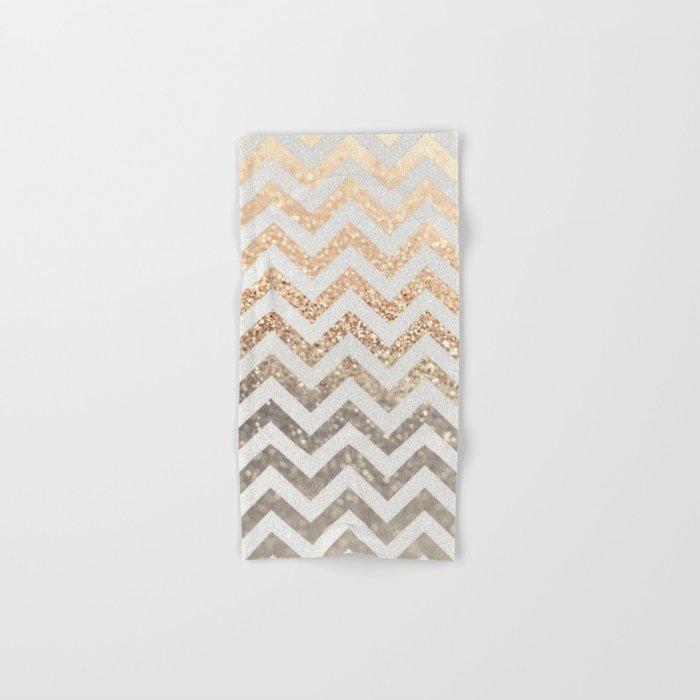 GOLD & SILVER CHEVRON Hand & Bath Towel