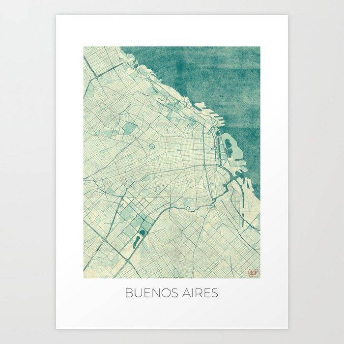 Buenos Aires Map Blue Vintage Art Print