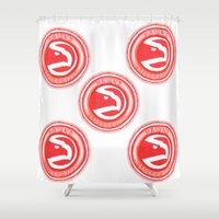 nba Shower Curtains featuring HAWKS HAND-DRAWING DESIGN by SUNNY Design