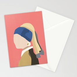 Girl with a pearl earring Pink Stationery Cards